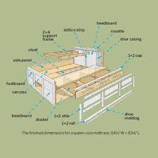 best of king size bed frame plans with storage and best 25 wooden