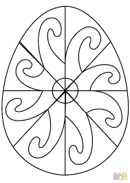easter egg with spiral pattern coloring page free printable