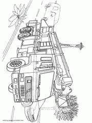 acmat fire truck colouring page