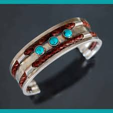 bracelet silver turquoise images Silver and leather bracelet set with turquoise jpg