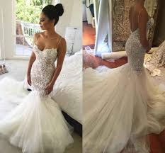 lace mermaid wedding dress 2017 mermaid backless wedding dresses spaghetti neck lace