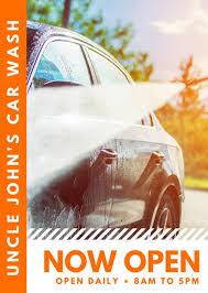 orange photo car wash flyer templates by canva