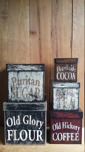 best 25 primitive canisters ideas on pinterest country flour sugar coffee canisters set primitive rustic country shabby