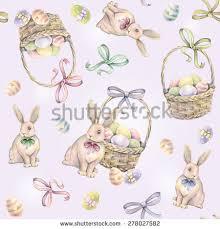 rabbit easter basket rabbit easter basket on pink background stock illustration