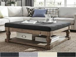 gray leather ottoman coffee table padded coffee tables fieldofscreams