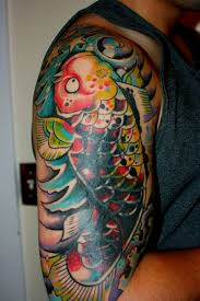 s half sleeve was covered in japanee koi design