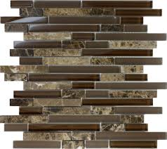 sample brown glass natural stone linear mosaic tile wall kitchen