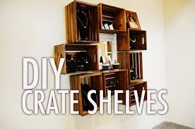Wooden Shelf Building by Diy Wood Crate Shelves Youtube