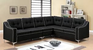 Single Chairs For Living Room Glenda Ii Black Fabric Sectional W Moveable Single Chair