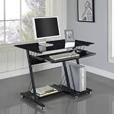 Pc On Desk Or Floor Stunning Rectangle Silver Chrome Mobile Computer Desk Sliding