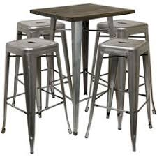 Square Bistro Table And Chairs Hartleys Gunmetal Industrial Square Top Bistro Table U0026 2 Black