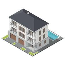 slant roof modern three storey house with slant roof sometric icon set vector