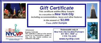 gift certificates for nyc travel packages