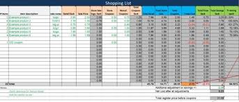Spreadsheet Free Free Shopping List Spreadsheet Plan Couponing Trips In Advance