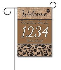 Welcome Flag Dog Paws U0026 Burlap Address Garden Flag 12 5 U0027 U0027 X 18 U0027 U0027 Custom
