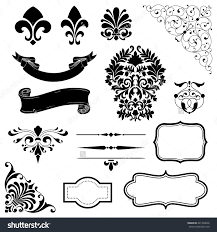 stock vector ornament set of black ornaments scrolls banners