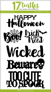 17turtles happy halloween titles and fonts with digital cut files