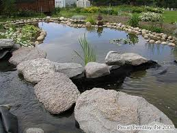 build stack stone waterfall for water filtration circulation and