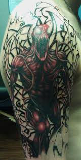 carnage half sleeve in progress headless hands custom tattoos
