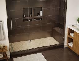 gray granite builtin shower shelf with glass inside over chrome