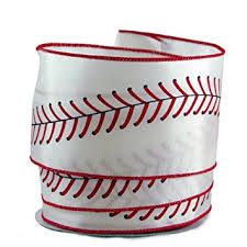 baseball ribbon baseball stitching satin wired ribbon 40 2 5in x 10