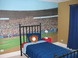 bedroom boyroom red bed with blue blanket on black wooden freme