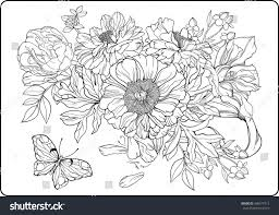 closeup view bunch flowers butterfly coloring stock vector
