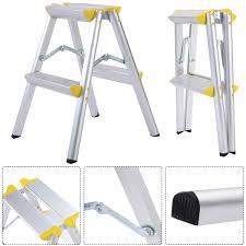 2 step aluminum ladder folding platform work stool 330 lbs load