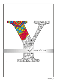 zentangle alphabet coloring pages letter y henna doodle grown
