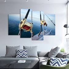 hunting and fishing elephantstock big game fishing reel multi panel canvas wall art