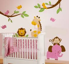 baby nursery decor jungles cartoon wall stickers for baby nursery