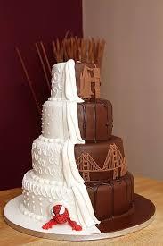 spider man chocolate travel inspired half and half wedding cake