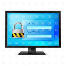 Login Authorization Or Login Form With Lock On Pc Monitor Vector Clipart