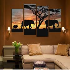 4 panels elephant in sunsetting print canvas painting for living room