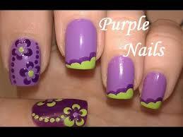 purple u0026 green nail art easy flower nails u0026 no tools french