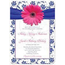 Pink Wedding Invitations Wedding Invitation Pink Gerber Daisy Damask Royal Blue Pink