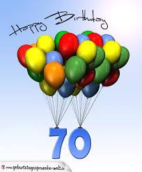 geburtstagssprüche zum 70 geburtstagskarte mit luftballons zum 70 geburtstag