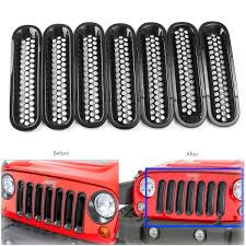 jeep wrangler front grill 11pcs black headlight trim front grille insert grille cover for