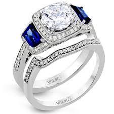 Diamond Sapphire Wedding Ring by Simon G 18 Gold Halo Diamond U0026 Sapphire Engagement Ring