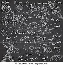 space doodles icons set hand drawn sketch with solar stock