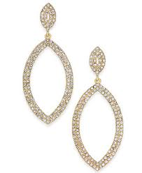drop hoop earrings thalia sodi gold tone pavé open drop hoop earrings created for