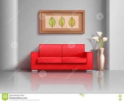 Red Sofa Furniture Realistic Red Sofa And Flowerpot In Living Room Interior Vector