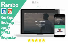 rambo one page resume template html css themes creative market