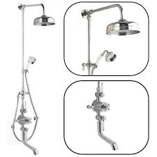 traditional thermostatic shower system with rigid riser bath filler