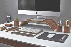 Wood Desk Accessories And Organizers Cool Work Desk Accessories Also Walnut Monitor Stand And Smart