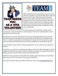 Creating A Vita Volunteer Income Tax Assistance Vita Volunteers Needed U2013 Team Inc