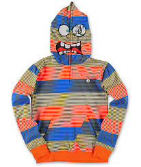 volcom boys easy going orange stripe face mask hoodie zumiez