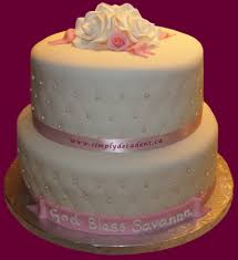 2 tier fondant baptism cake with quilting pink pearls roses amp