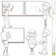 plain sketches of the teachers in the classroom stock vector