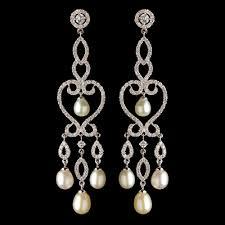 pearl chandelier earrings rhodium clear cz freshwater pearl chandelier earrings 4702